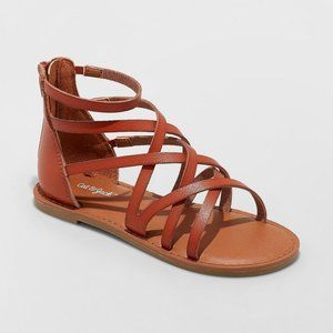 Girls Lilith Cognac Brown Faux Leather Gladiator